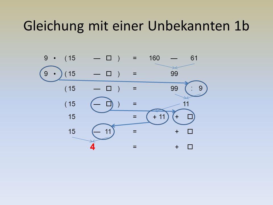 Gleichung mit einer Unbekannten 1b 915—  =160—61 ( ) 915—  =99() 15—  =99 ( ) 9: 15—  =11 ( ) 15+  =11 15+  =11— +  =4 4 +