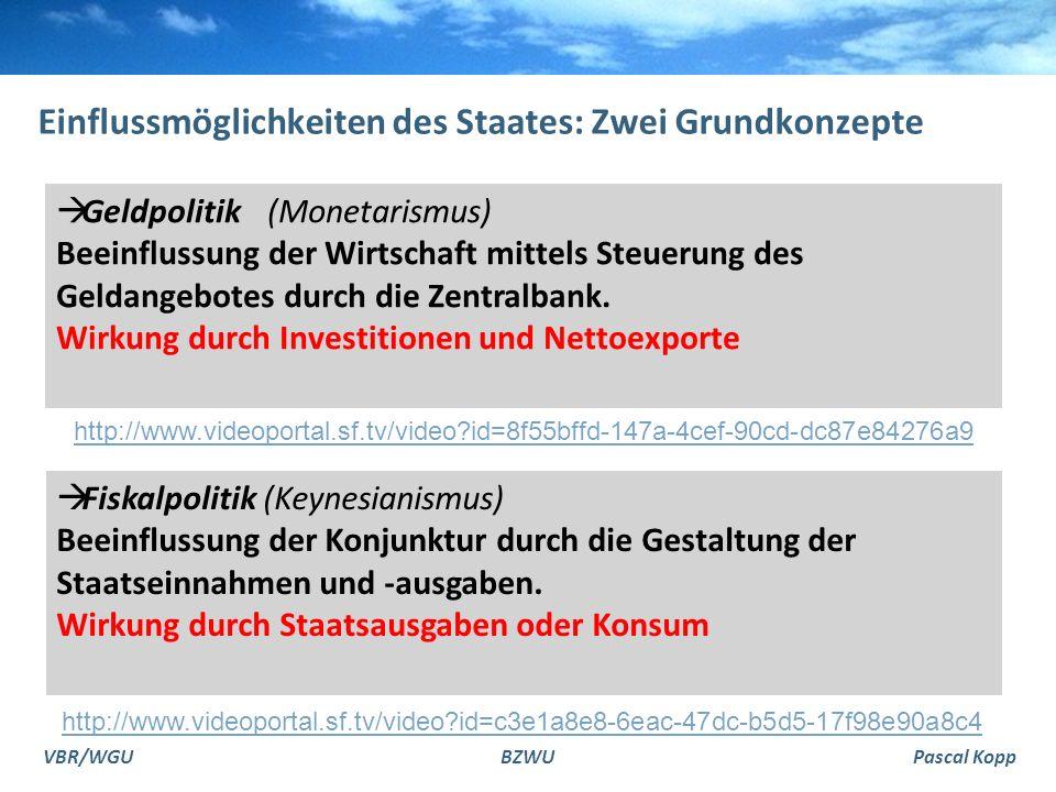 VBR/WGUBZWUPascal Kopp Grundidee Fiskalpolitik expansiv (in einer Rezession) Staatsausgaben erhöhen oder Steuern senken.
