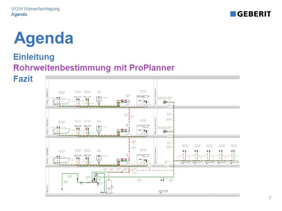 Agenda Einleitung Rohrweitenbestimmung mit ProPlanner Fazit Agenda 7 VIGW Wasserfachtagung