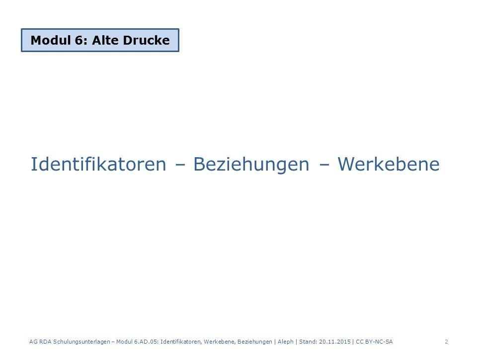 Identifikatoren – Beziehungen – Werkebene Modul 6: Alte Drucke 2 AG RDA Schulungsunterlagen – Modul 6.AD.05: Identifikatoren, Werkebene, Beziehungen | Aleph | Stand: 20.11.2015 | CC BY-NC-SA