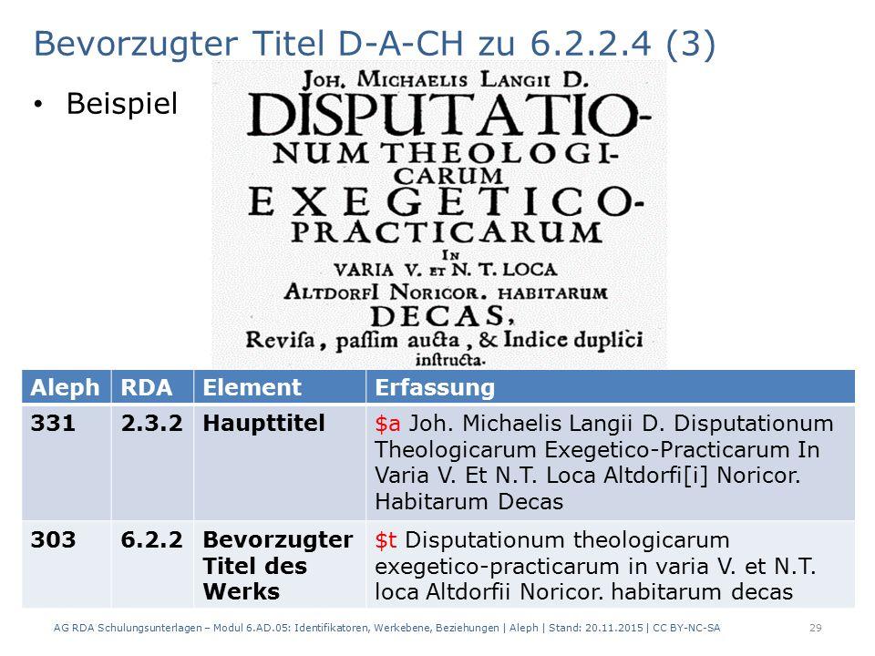 Bevorzugter Titel D-A-CH zu 6.2.2.4 (3) Beispiel AG RDA Schulungsunterlagen – Modul 6.AD.05: Identifikatoren, Werkebene, Beziehungen | Aleph | Stand: 20.11.2015 | CC BY-NC-SA 29 AlephRDAElementErfassung 3312.3.2Haupttitel$a Joh.
