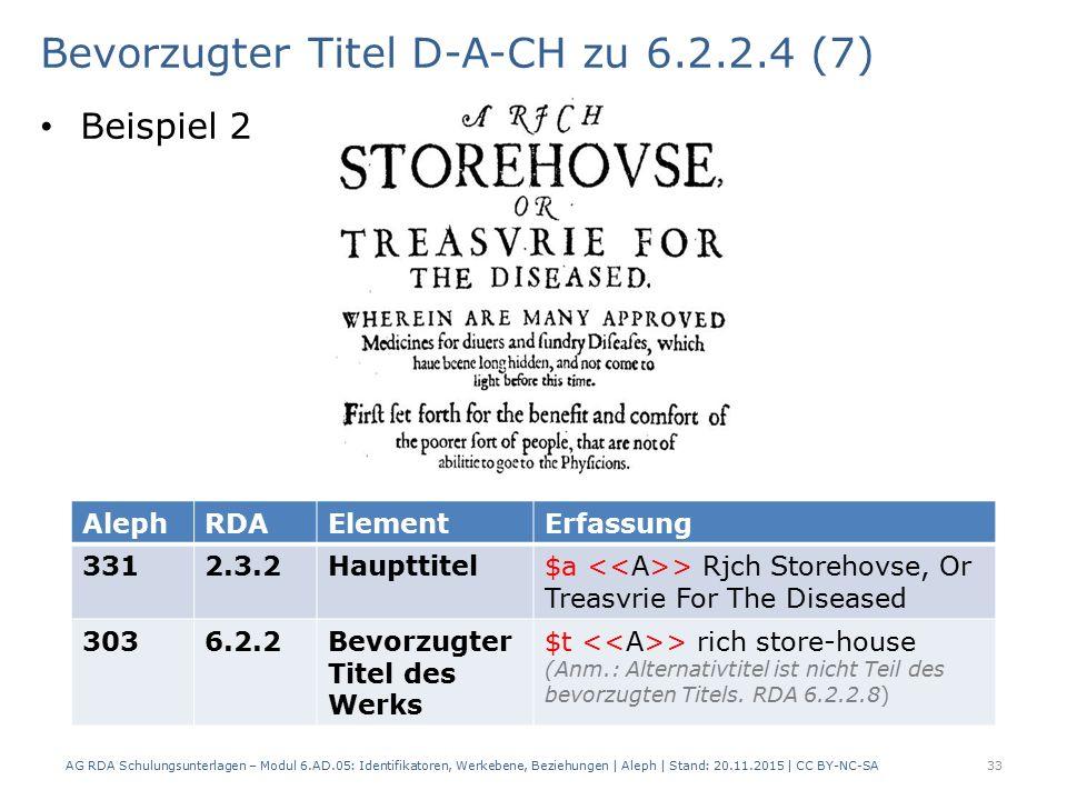 Bevorzugter Titel D-A-CH zu 6.2.2.4 (7) Beispiel 2 AG RDA Schulungsunterlagen – Modul 6.AD.05: Identifikatoren, Werkebene, Beziehungen | Aleph | Stand: 20.11.2015 | CC BY-NC-SA 33 AlephRDAElementErfassung 3312.3.2Haupttitel$a > Rjch Storehovse, Or Treasvrie For The Diseased 3036.2.2Bevorzugter Titel des Werks $t > rich store-house (Anm.: Alternativtitel ist nicht Teil des bevorzugten Titels.