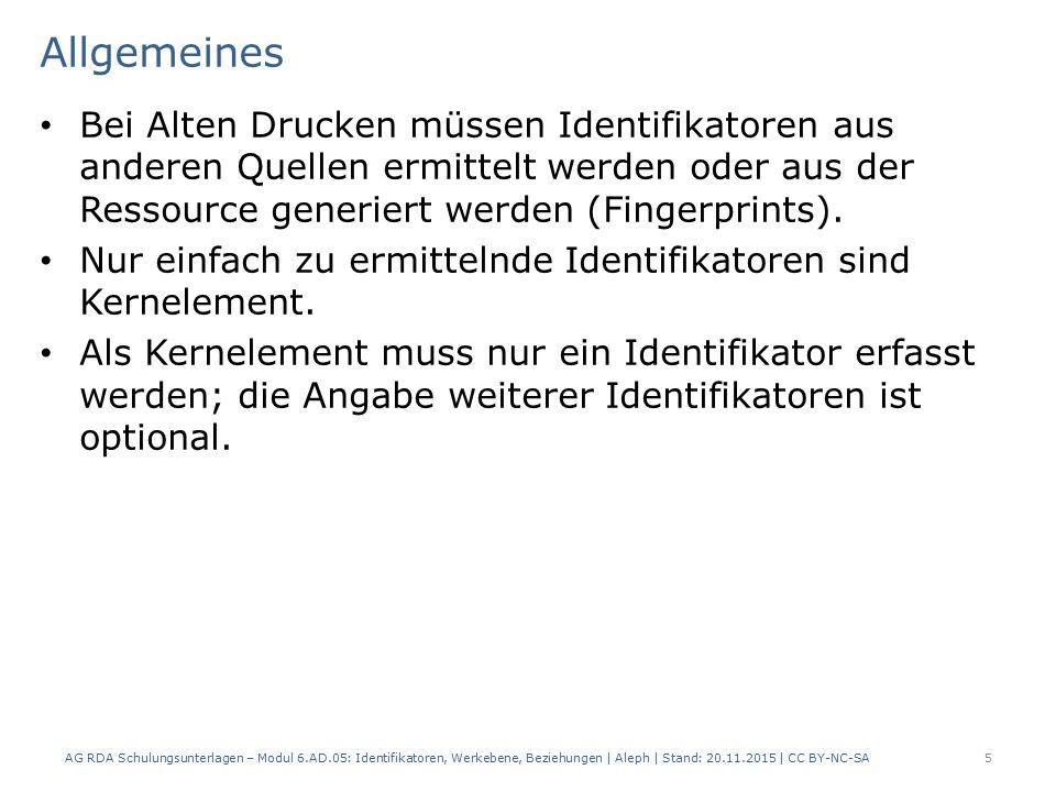 Allgemeines Bei Alten Drucken müssen Identifikatoren aus anderen Quellen ermittelt werden oder aus der Ressource generiert werden (Fingerprints).