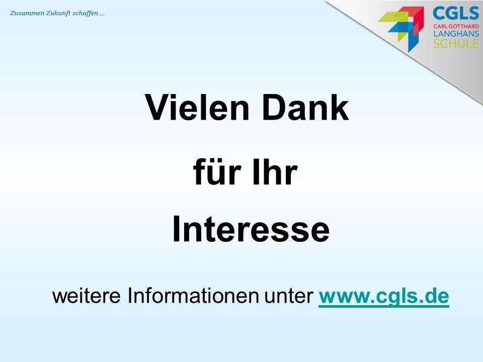 Vielen Dank für Ihr Interesse weitere Informationen unter www.cgls.dewww.cgls.de