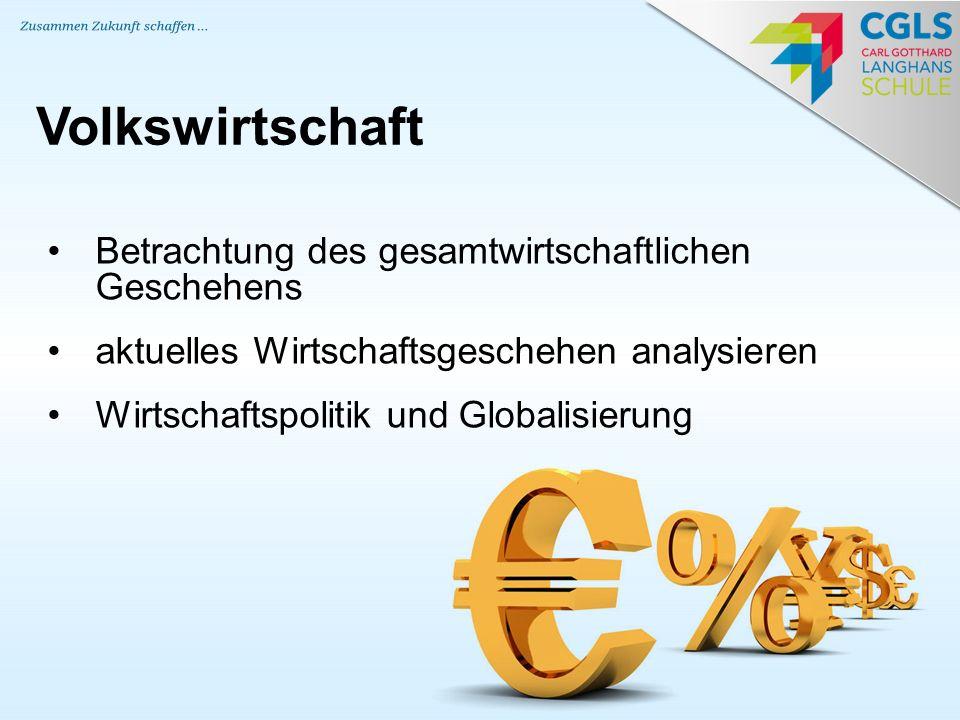 Betrachtung des gesamtwirtschaftlichen Geschehens aktuelles Wirtschaftsgeschehen analysieren Wirtschaftspolitik und Globalisierung Volkswirtschaft