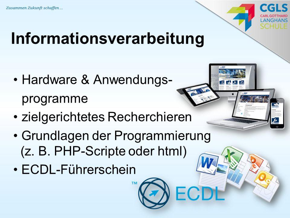 Hardware & Anwendungs- programme zielgerichtetes Recherchieren Grundlagen der Programmierung (z. B. PHP-Scripte oder html) ECDL-Führerschein Informati