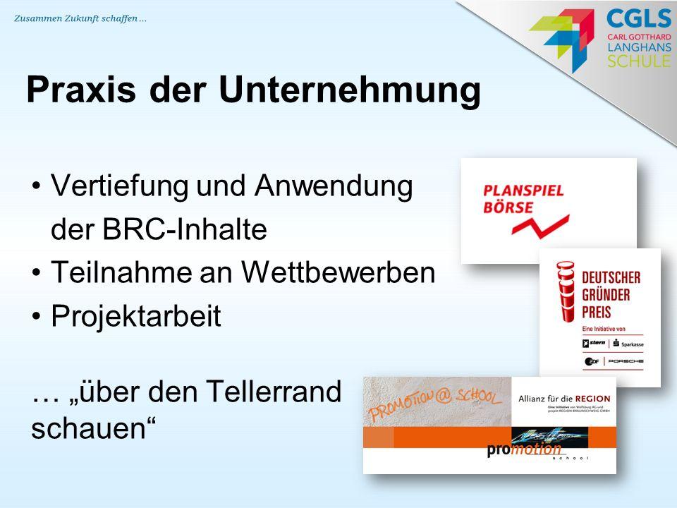 """Praxis der Unternehmung Vertiefung und Anwendung der BRC-Inhalte Teilnahme an Wettbewerben Projektarbeit … """"über den Tellerrand schauen"""""""