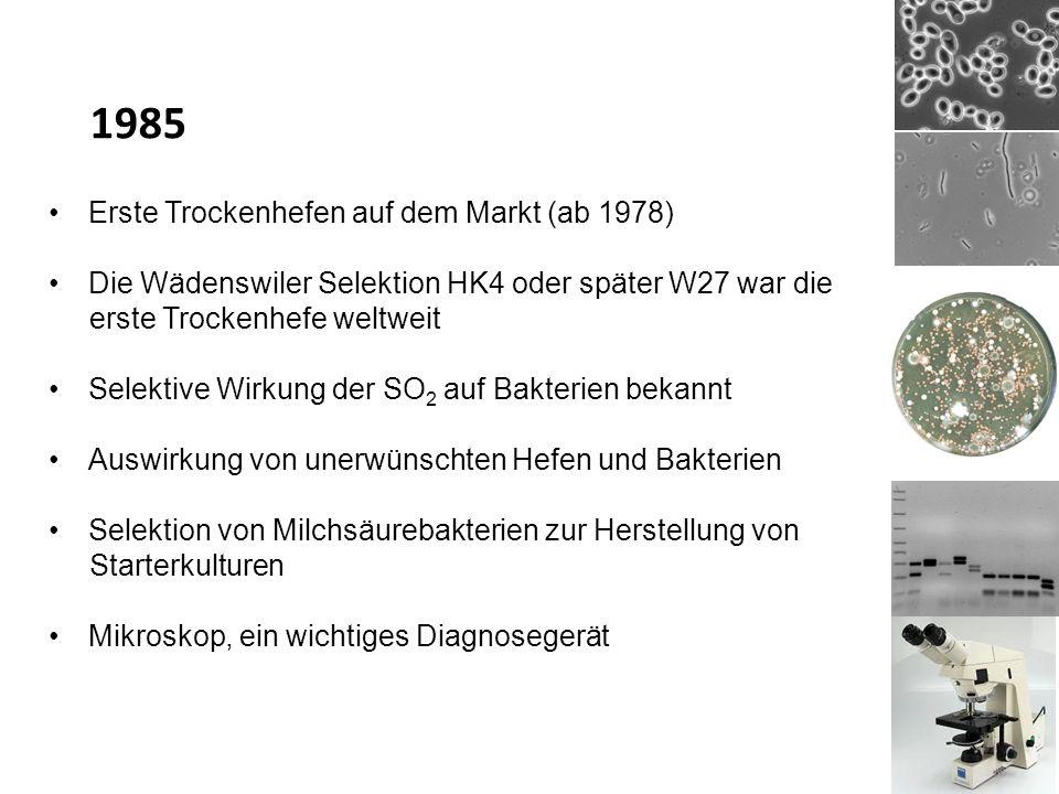 Erste Trockenhefen auf dem Markt (ab 1978) Die Wädenswiler Selektion HK4 oder später W27 war die erste Trockenhefe weltweit Selektive Wirkung der SO 2 auf Bakterien bekannt Auswirkung von unerwünschten Hefen und Bakterien Selektion von Milchsäurebakterien zur Herstellung von Starterkulturen Mikroskop, ein wichtiges Diagnosegerät 1985