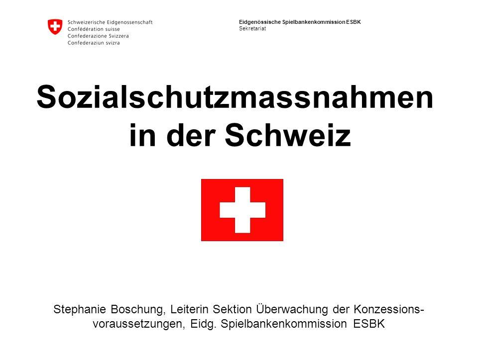 Eidgenössische Spielbankenkommission ESBK Sekretariat Sozialschutzmassnahmen in der Schweiz Stephanie Boschung, Leiterin Sektion Überwachung der Konze