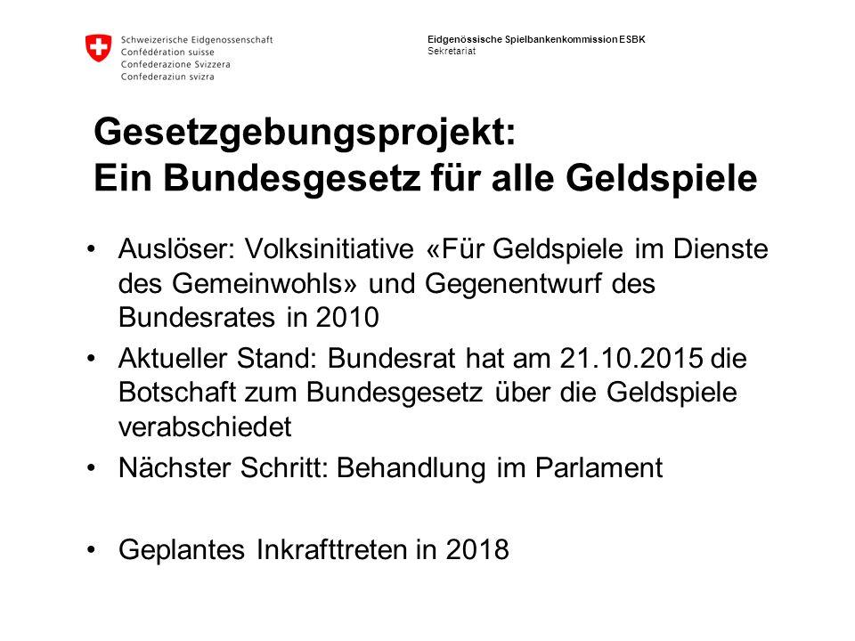 Eidgenössische Spielbankenkommission ESBK Sekretariat Auslöser: Volksinitiative «Für Geldspiele im Dienste des Gemeinwohls» und Gegenentwurf des Bunde