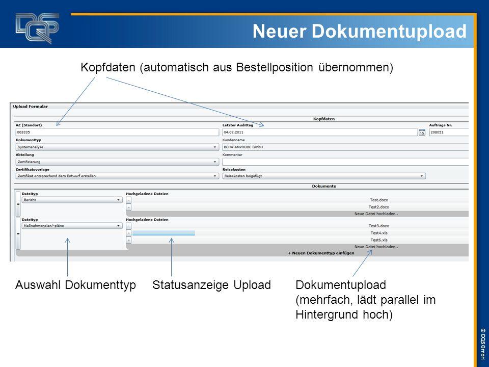 © DQS GmbH Neuer Dokumentupload Kopfdaten (automatisch aus Bestellposition übernommen) Auswahl DokumenttypStatusanzeige Upload Dokumentupload (mehrfach, lädt parallel im Hintergrund hoch)