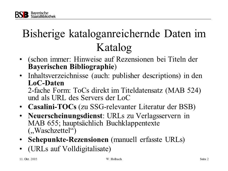 11. Okt. 2005W. HolbachSeite 2 Bisherige kataloganreichernde Daten im Katalog (schon immer: Hinweise auf Rezensionen bei Titeln der Bayerischen Biblio
