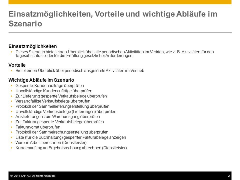 ©2011 SAP AG. All rights reserved.2 Einsatzmöglichkeiten, Vorteile und wichtige Abläufe im Szenario Einsatzmöglichkeiten  Dieses Szenario bietet eine