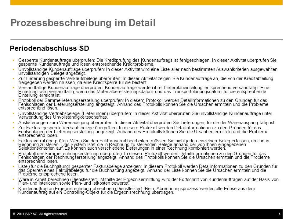 ©2011 SAP AG. All rights reserved.4 Prozessbeschreibung im Detail Periodenabschluss SD  Gesperrte Kundenaufträge überprüfen: Die Kreditprüfung des Ku
