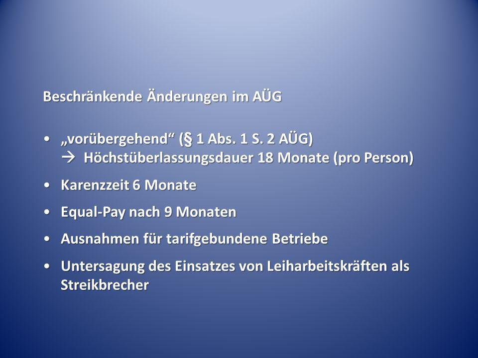 """Beschränkende Änderungen im AÜG """"vorübergehend"""" (§ 1 Abs. 1 S. 2 AÜG)  Höchstüberlassungsdauer 18 Monate (pro Person)""""vorübergehend"""" (§ 1 Abs. 1 S. 2"""