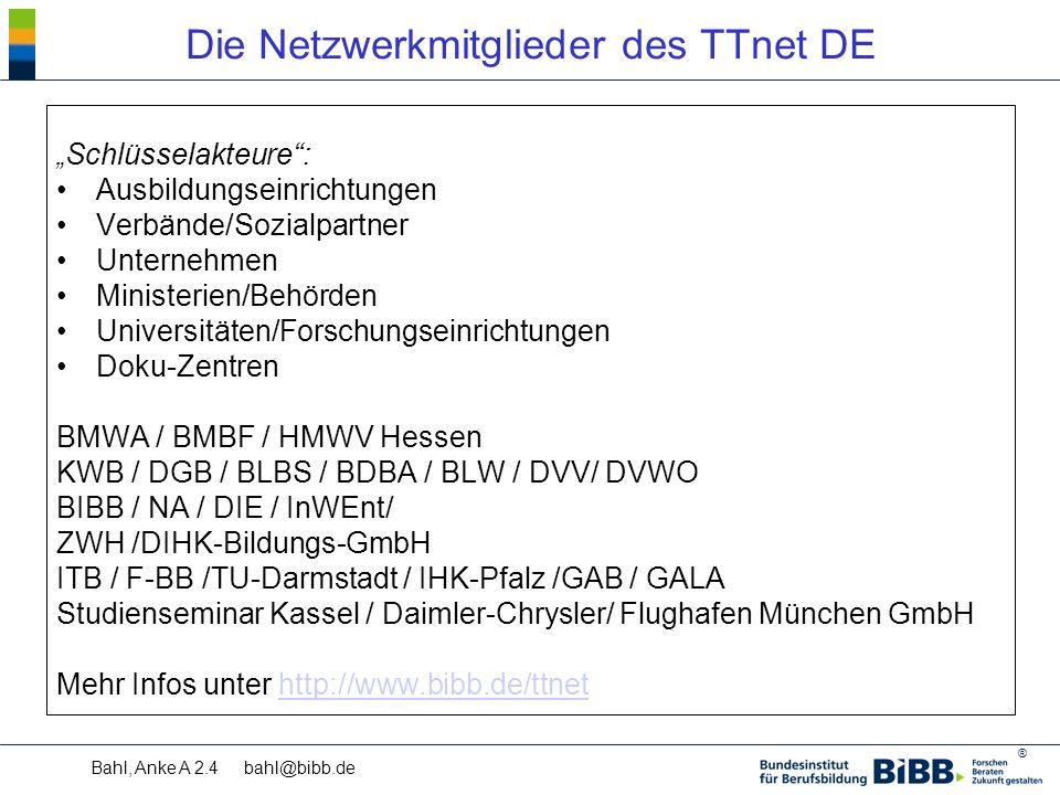 """® Bahl, Anke A 2.4 bahl@bibb.de Die Netzwerkmitglieder des TTnet DE """" Schlüsselakteure : Ausbildungseinrichtungen Verbände/Sozialpartner Unternehmen Ministerien/Behörden Universitäten/Forschungseinrichtungen Doku-Zentren BMWA / BMBF / HMWV Hessen KWB / DGB / BLBS / BDBA / BLW / DVV/ DVWO BIBB / NA / DIE / InWEnt/ ZWH /DIHK-Bildungs-GmbH ITB / F-BB /TU-Darmstadt / IHK-Pfalz /GAB / GALA Studienseminar Kassel / Daimler-Chrysler/ Flughafen München GmbH Mehr Infos unter http://www.bibb.de/ttnethttp://www.bibb.de/ttnet"""