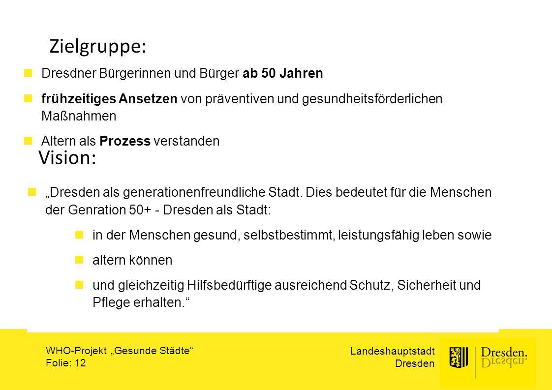 """Landeshauptstadt Dresden WHO-Projekt """"Gesunde Städte"""" Folie: 12 Zielgruppe: Dresdner Bürgerinnen und Bürger ab 50 Jahren frühzeitiges Ansetzen von prä"""