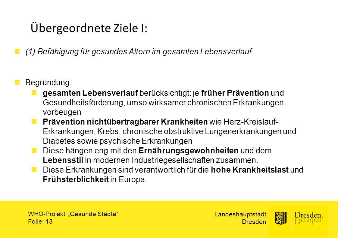 """Landeshauptstadt Dresden WHO-Projekt """"Gesunde Städte"""" Folie: 13 Übergeordnete Ziele I: (1) Befähigung für gesundes Altern im gesamten Lebensverlauf Be"""
