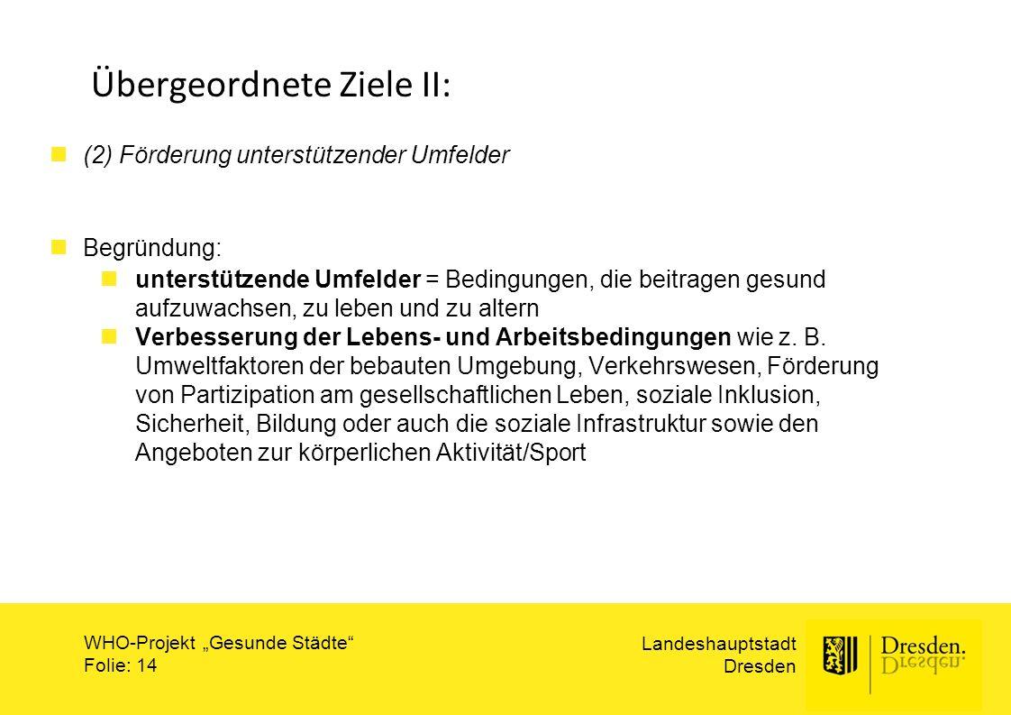 """Landeshauptstadt Dresden WHO-Projekt """"Gesunde Städte"""" Folie: 14 Übergeordnete Ziele II: (2) Förderung unterstützender Umfelder Begründung: unterstütze"""