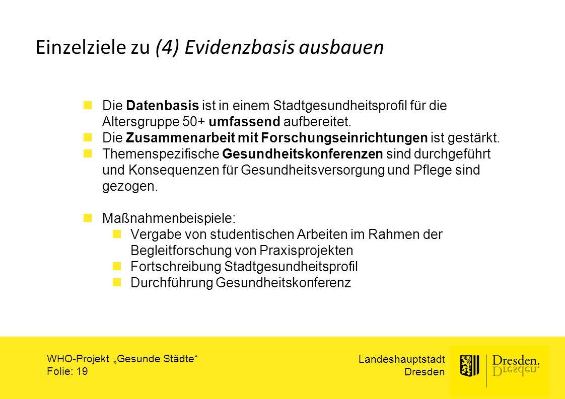 """Landeshauptstadt Dresden WHO-Projekt """"Gesunde Städte"""" Folie: 19 Einzelziele zu (4) Evidenzbasis ausbauen Die Datenbasis ist in einem Stadtgesundheitsp"""