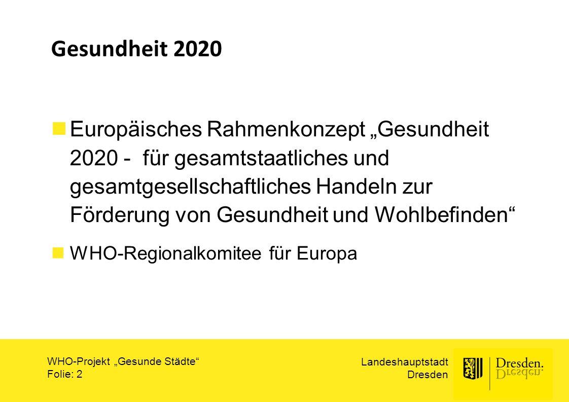 """Landeshauptstadt Dresden WHO-Projekt """"Gesunde Städte"""" Folie: 2 Gesundheit 2020 Europäisches Rahmenkonzept """"Gesundheit 2020 - für gesamtstaatliches und"""