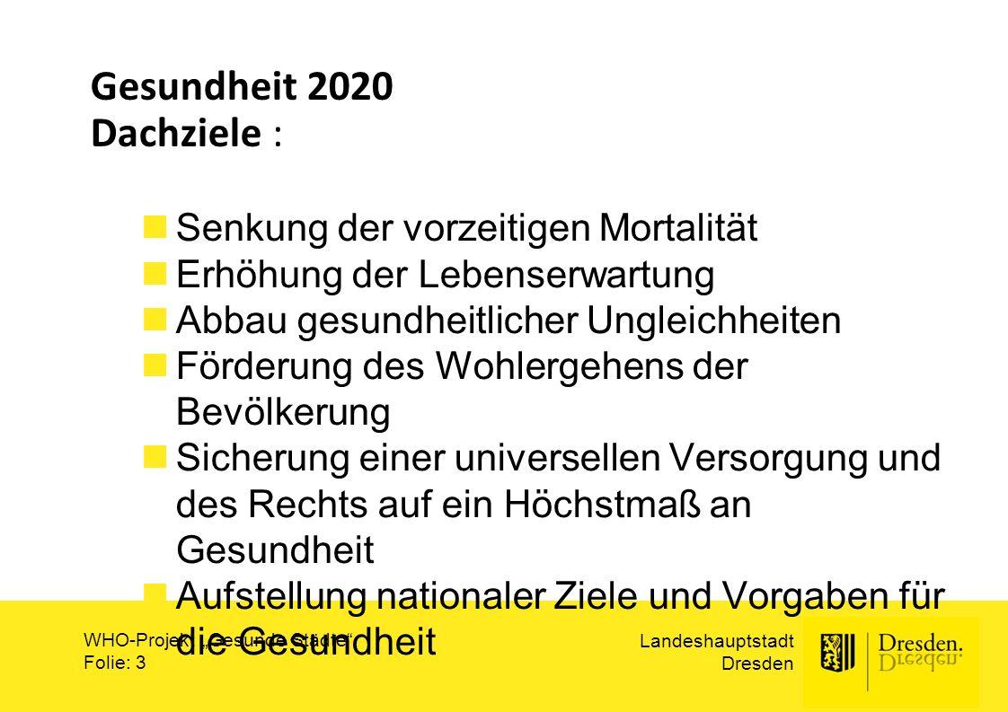 """Landeshauptstadt Dresden WHO-Projekt """"Gesunde Städte"""" Folie: 3 Gesundheit 2020 Dachziele : Senkung der vorzeitigen Mortalität Erhöhung der Lebenserwar"""