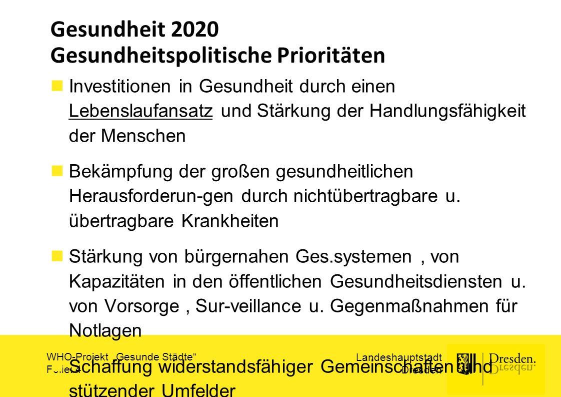 """Landeshauptstadt Dresden WHO-Projekt """"Gesunde Städte Folie: 5 Gesundheit 2020 : Lebensverlaufansatz und Handlungsfähigkeit Gute Gesundheit im ganzen Leben fördern Ges und aktives Altern als Priorität in Politik u."""