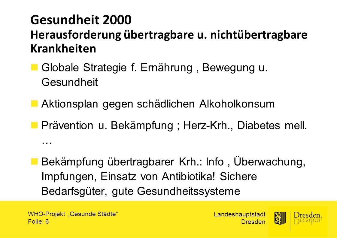 """Landeshauptstadt Dresden WHO-Projekt """"Gesunde Städte"""" Folie: 6 Gesundheit 2000 Herausforderung übertragbare u. nichtübertragbare Krankheiten Globale S"""