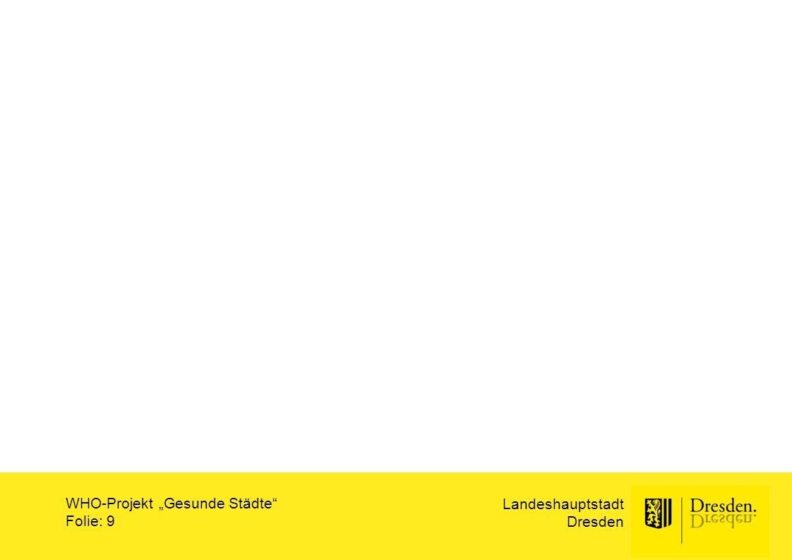 """Ämterangabe über Folienmaster Landeshauptstadt Dresden Titel der Präsentation Folie: 10 Gesundheitsamt WHO-Projekt """"Gesunde Städte Landeshauptstadt Dresden V0622/15 Fortschreibung Aktionsplan """"Gesundes und aktives Altern in Dresden auf Basis des Aktionsprogrammes Gesundes und aktives Altern von 2008"""