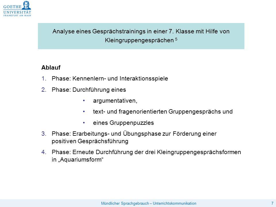 7Mündlicher Sprachgebrauch – Unterrichtskommunikation Analyse eines Gesprächstrainings in einer 7.