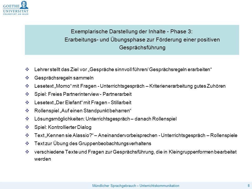 19Mündlicher Sprachgebrauch – Unterrichtskommunikation Lehrersprache – Trainingsprogramm von Heidemann 10  Schweigen – Einsammeln mit Blicken  Schweigen nach gestellten Fragen  Fragen nachschieben  Lehrer- bzw.