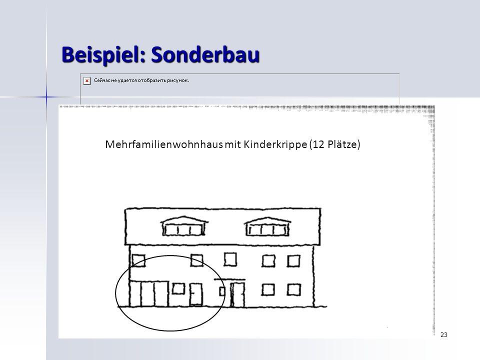 23 Beispiel: Sonderbau Mehrfamilienwohnhaus mit Kinderkrippe (12 Plätze)