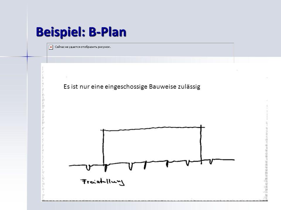 25 Beispiel: B-Plan Es ist nur eine eingeschossige Bauweise zulässig