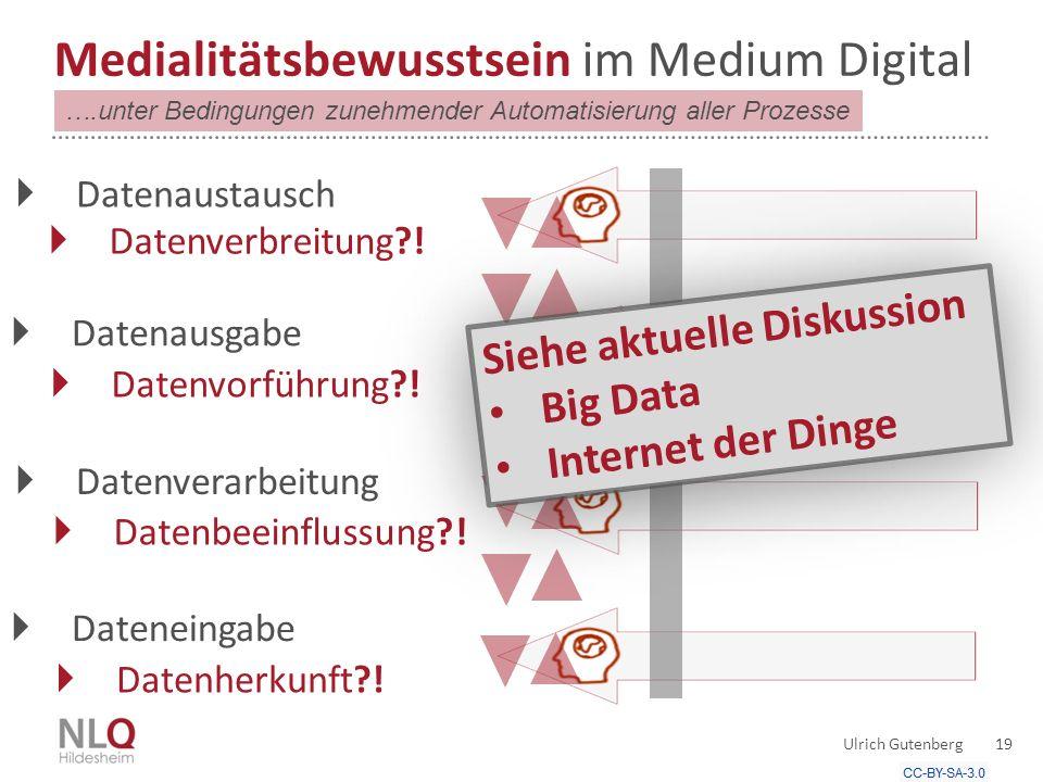 Ulrich Gutenberg 19 Medialitätsbewusstsein im Medium Digital  Datenausgabe  Datenvorführung?.