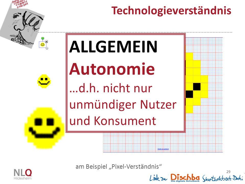 """29 Technologieverständnis am Beispiel """"Pixel-Verständnis ALLGEMEIN Autonomie …d.h."""