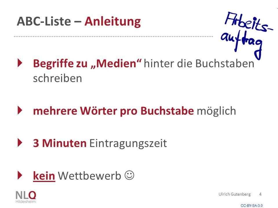 """ABC-Liste – Anleitung Ulrich Gutenberg 4  Begriffe zu """"Medien hinter die Buchstaben schreiben  mehrere Wörter pro Buchstabe möglich  3 Minuten Eintragungszeit  kein Wettbewerb"""