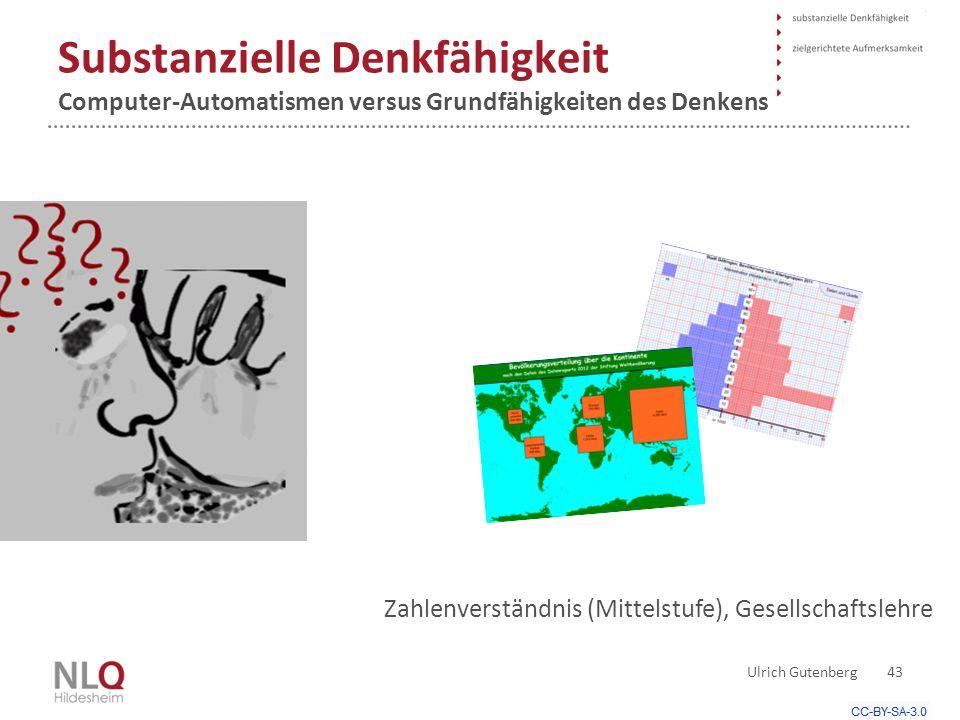 Substanzielle Denkfähigkeit Computer-Automatismen versus Grundfähigkeiten des Denkens Ulrich Gutenberg 43 Zahlenverständnis (Mittelstufe), Gesellschaftslehre
