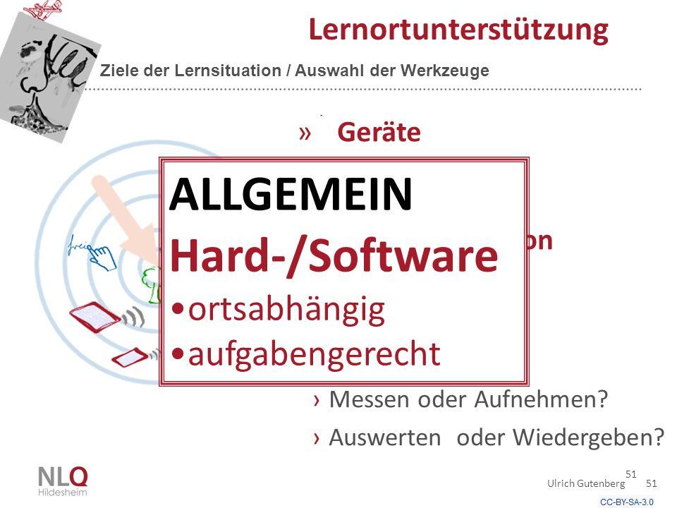 51 Lernortunterstützung Ziele der Lernsituation / Auswahl der Werkzeuge »Geräte ›mobile.