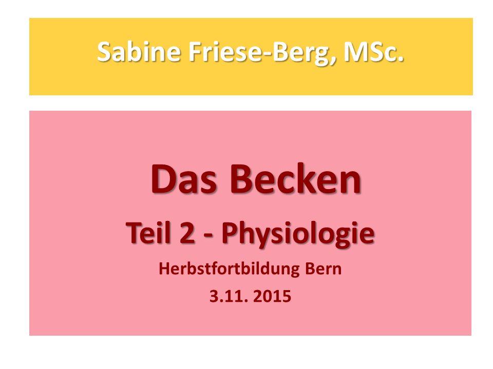 Sabine Friese-Berg, MSc. Das Becken Das Becken Teil 2 - Physiologie Herbstfortbildung Bern 3.11. 2015