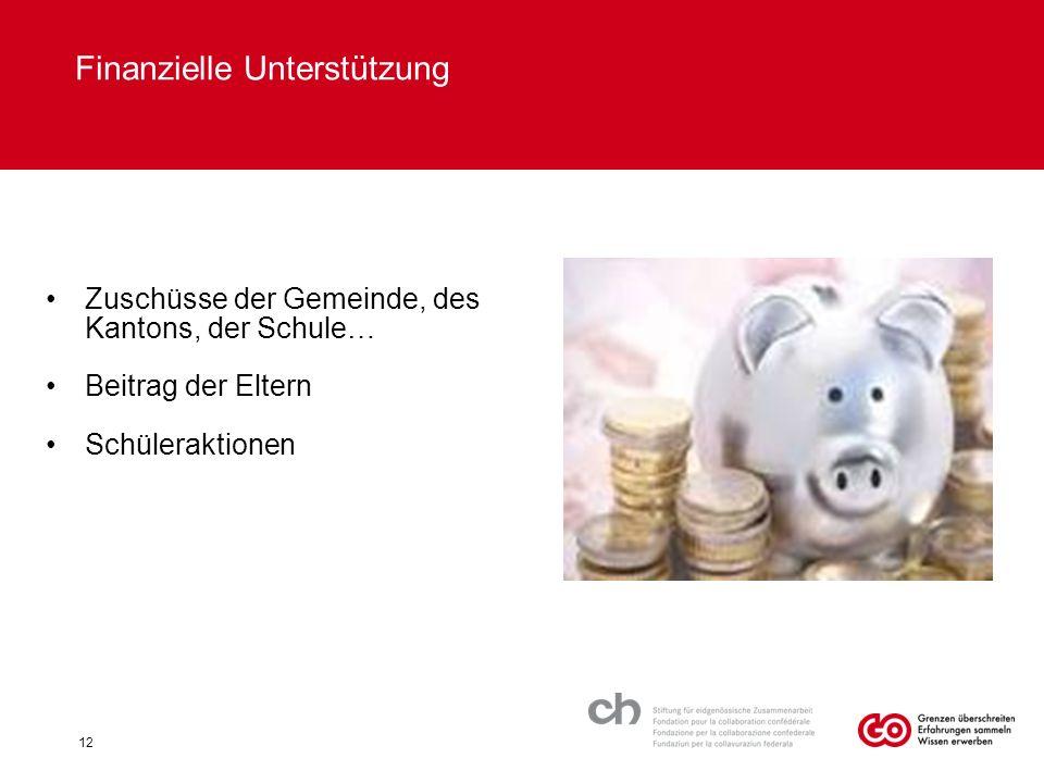 Finanzielle Unterstützung Zuschüsse der Gemeinde, des Kantons, der Schule… Beitrag der Eltern Schüleraktionen 12