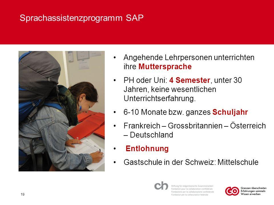 19 Sprachassistenzprogramm SAP Angehende Lehrpersonen unterrichten ihre Muttersprache PH oder Uni: 4 Semester, unter 30 Jahren, keine wesentlichen Unterrichtserfahrung.