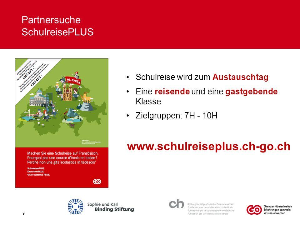Partnersuche SchulreisePLUS Schulreise wird zum Austauschtag Eine reisende und eine gastgebende Klasse Zielgruppen: 7H - 10H www.schulreiseplus.ch-go.ch 9