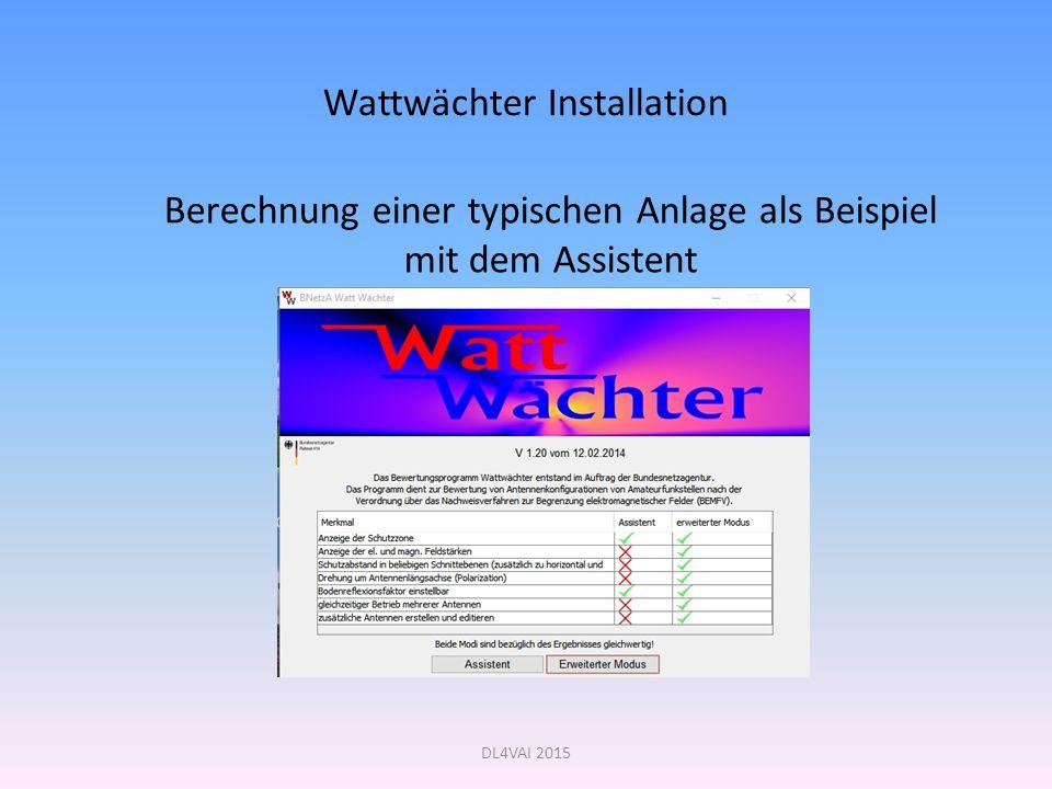 Wattwächter Installation Berechnung einer typischen Anlage als Beispiel mit dem Assistent