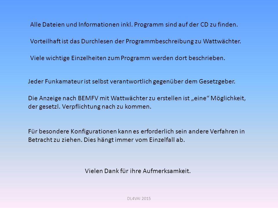 DL4VAI 2015 Alle Dateien und Informationen inkl.Programm sind auf der CD zu finden.