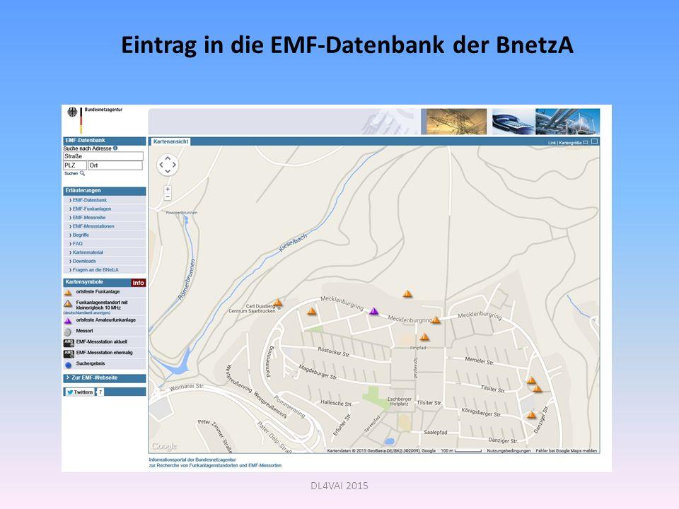 DL4VAI 2015 Eintrag in die EMF-Datenbank der BnetzA
