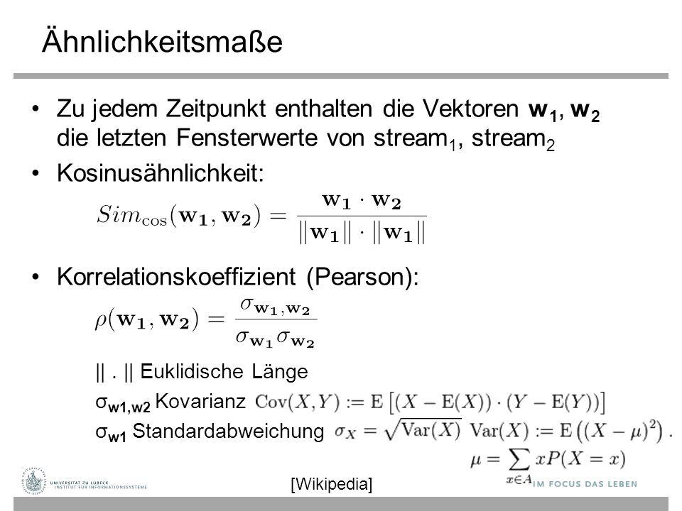 Ähnlichkeitsmaße Zu jedem Zeitpunkt enthalten die Vektoren w 1, w 2 die letzten Fensterwerte von stream 1, stream 2 Kosinusähnlichkeit: Korrelationsko