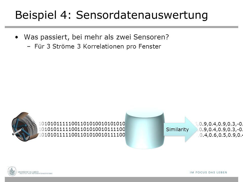 01010101010101010010101010111110011010100101010101010101010101010101101010101101010100101010101010101001010101011111001101010010101010101010101010101010110101010110101010 010101010101010100101010101111100110101001010101010101010101010101011010101011010101001010101010101010010101010111110011010100101111001010101010101010101010110101010110101 Beispiel 4: Sensordatenauswertung Was passiert, bei mehr als zwei Sensoren.
