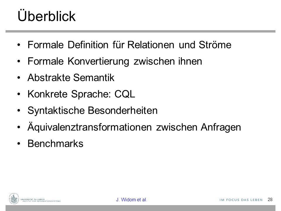 28 Überblick Formale Definition für Relationen und Ströme Formale Konvertierung zwischen ihnen Abstrakte Semantik Konkrete Sprache: CQL Syntaktische B