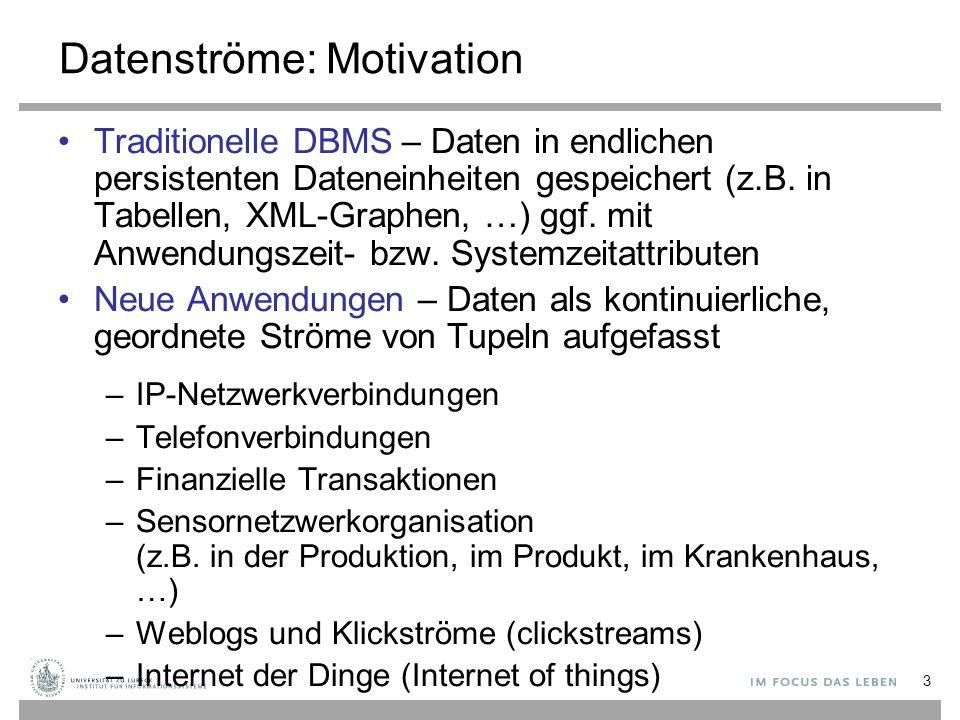 3 Datenströme: Motivation Traditionelle DBMS – Daten in endlichen persistenten Dateneinheiten gespeichert (z.B. in Tabellen, XML-Graphen, …) ggf. mit