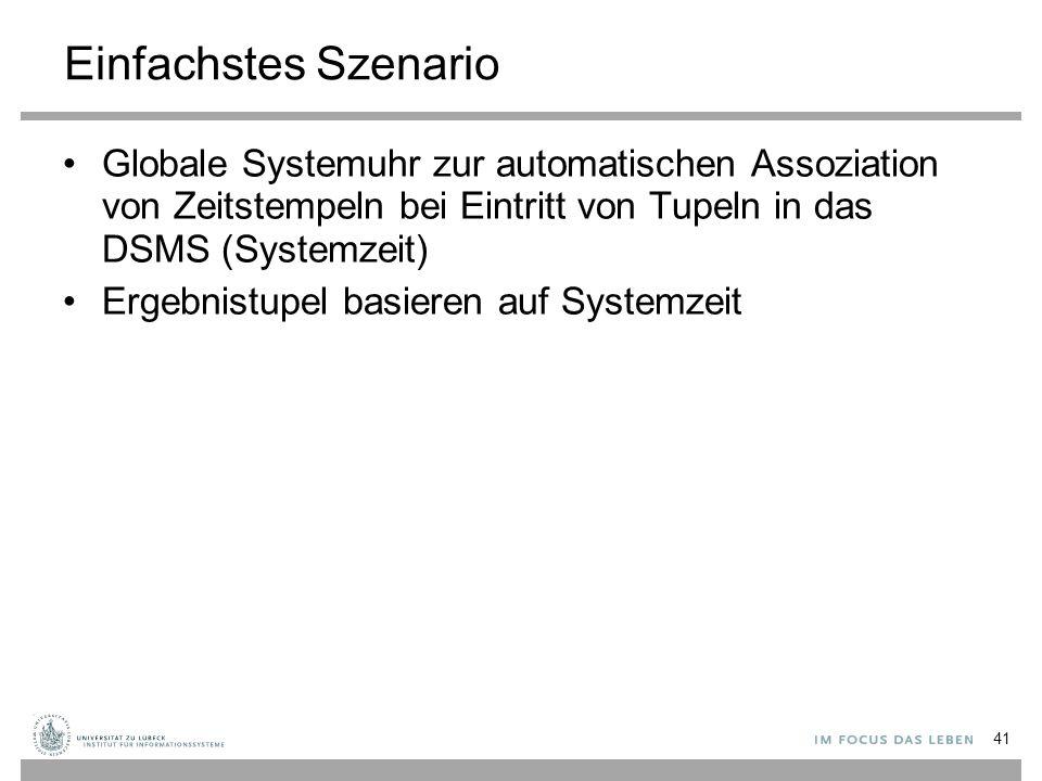 Einfachstes Szenario Globale Systemuhr zur automatischen Assoziation von Zeitstempeln bei Eintritt von Tupeln in das DSMS (Systemzeit) Ergebnistupel basieren auf Systemzeit 41